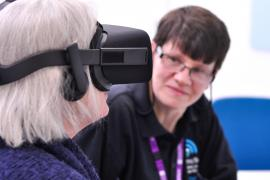 Lady using virtual reality headset